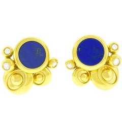 Emil Meister Lapis and Diamond Set Gold Earrings