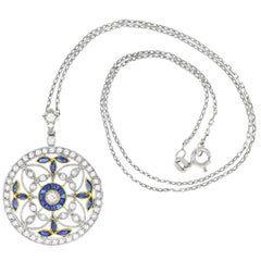 Art Deco Diamond and Sapphire Set Platinum over Gold Pendant