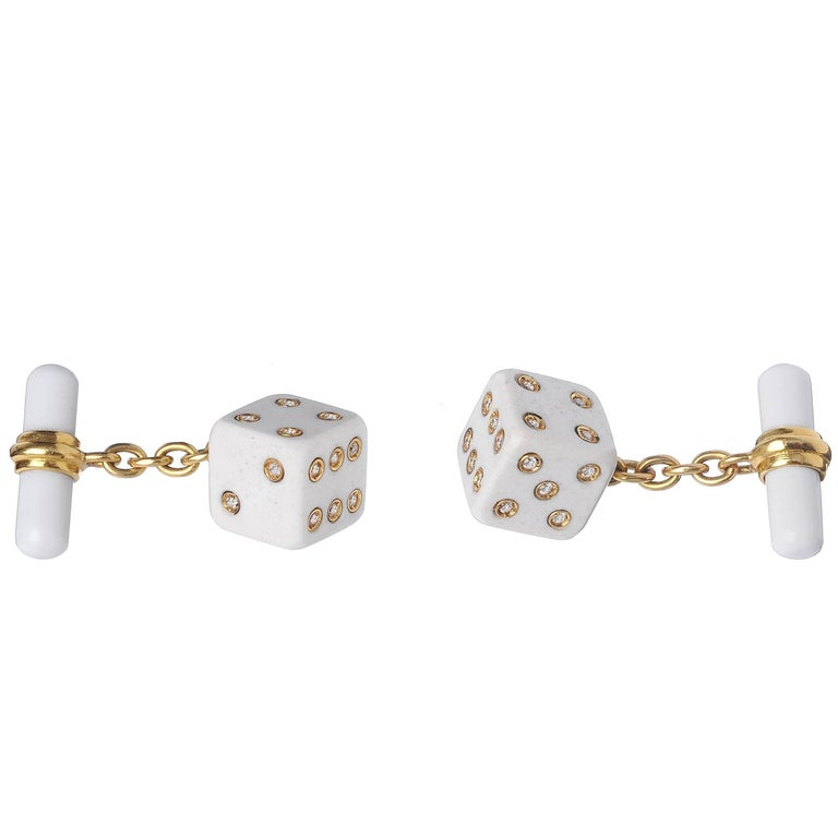 Playing Dice White Agate Diamond Gold Cufflinks For Sale