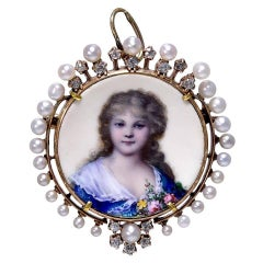 Antique Diamond, Pearl and Enamel Brooch or Pendant