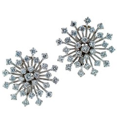 1950s Snowflake Diamond Platinum Ear Clips