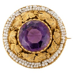 Victorian 1880s Grapevine Amethyst Seed Pearl Gold Brooch