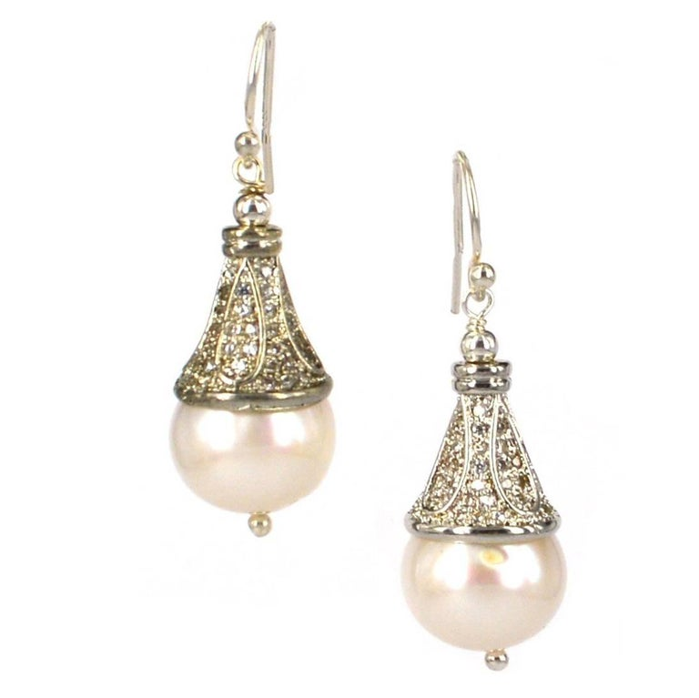 Decadent Jewels Fresh Water Pearl and CZ Silver Earrings
