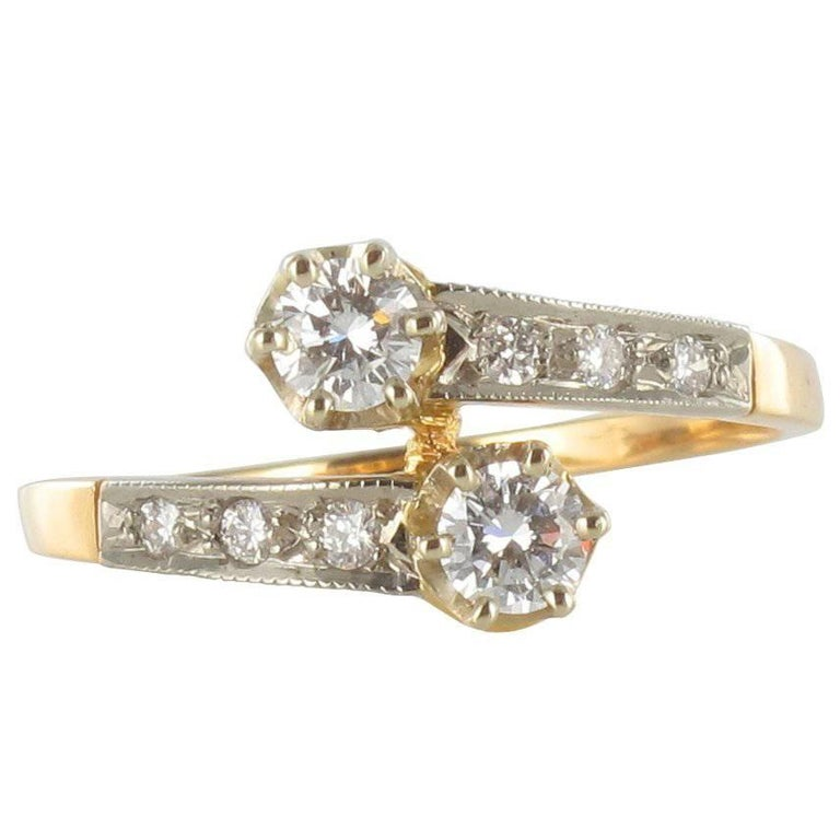 French Diamond 18 Carat Yellow Gold Platinium Toi et Moi Engagement Ring For Sale