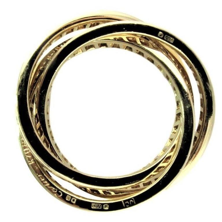 Cartier Diamond Yellow Gold US 7 1/2 Trinity Ring.