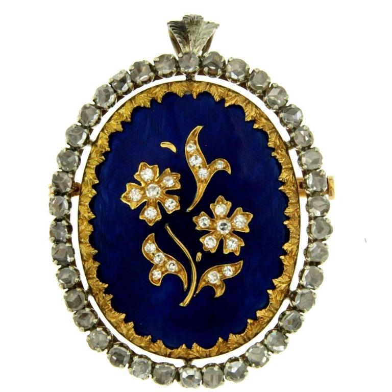 Blue Enamel Diamond Brooch