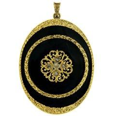 1900s Enamel Gold Locket Pendant