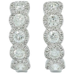 Diamond Hoop White Gold Earrings