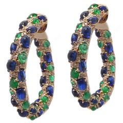 Emerald Kyanite Diamond Hoop Earrings