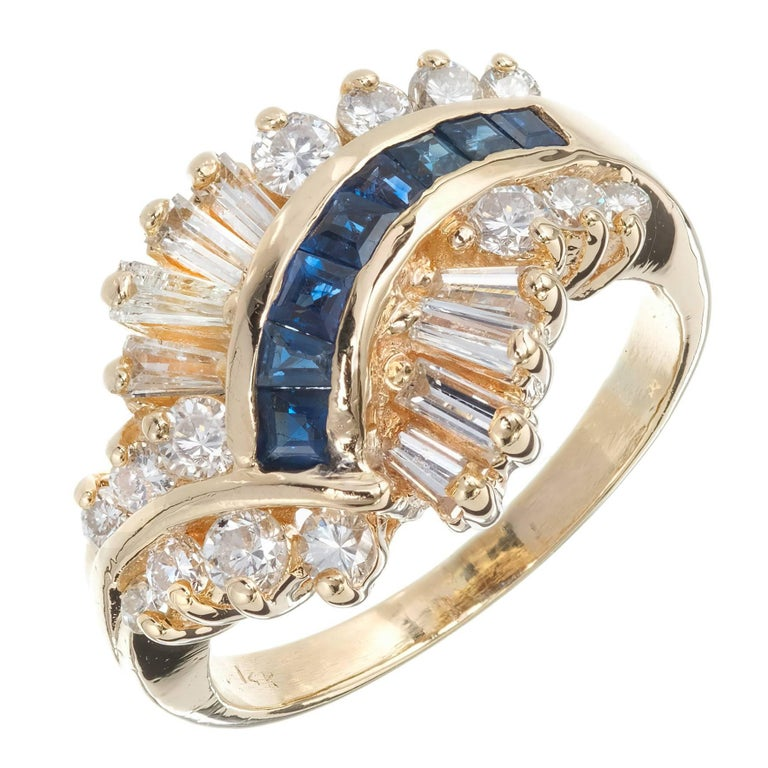 Sapphire Diamond 1960s Swirl Dome Gold Cocktail Ring