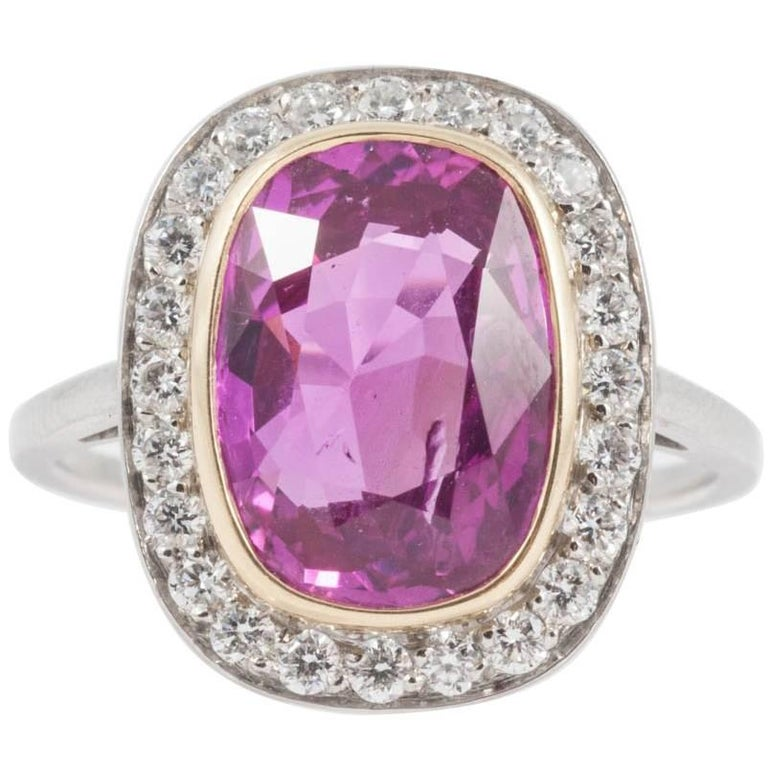 Natural No Heat 4.31 Carat Pink Sapphire Diamond Ring