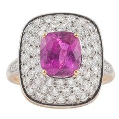 Tanzanian Winza Natural Pink Sapphire, Diamond and Yellow Diamond Cocktail Ring