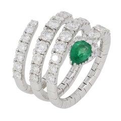 Pear Shape Emerald Diamond Wrap Ring