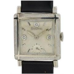 Bulova White Gold Diamond Florentine Bezel Manual Wristwatch, circa 1960