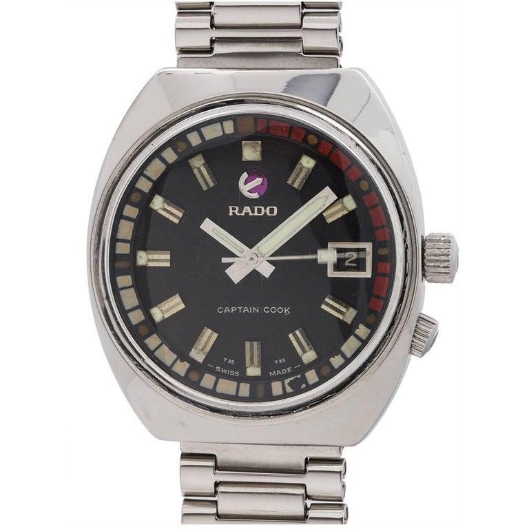 Rado Stainless Steel Black Dial Captain Cook Wristwatch, circa 1970s