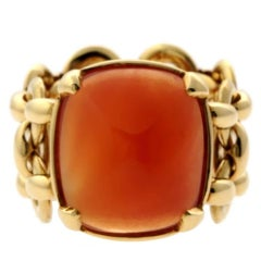 Hermes Sugar Loaf Carnelian Gold Ring