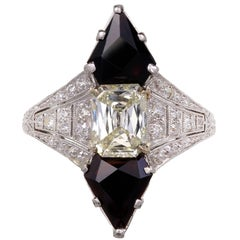 Black Starr & Frost 1.03 Carat Diamond Onyx Platinum Cocktail Ring