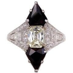 Black Starr & Frost 1.03 Carat Diamond Onyx Platinum Cocktail Ring
