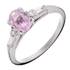 Peter Such GIA Certified Pink Sapphire Diamond Platinum Engagement Ring