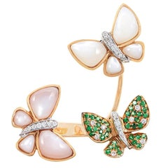 SAM.SAAB Butterfly Motif Yellow Gold Ring and Diamonds