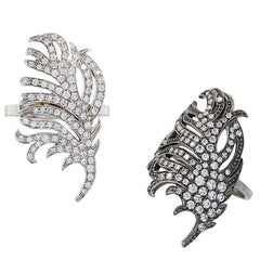SAM.SAAB Feather Motif White Gold and Diamond Ring