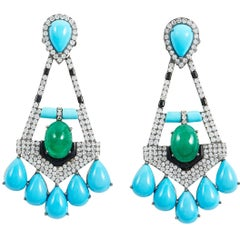 SAM.SAAB Turquoise and Yellow Gold Chandelier Earring