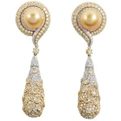 SAM.SAAB South Sea Pearl Diamond and Yellow Gold Drop Earring