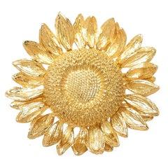 Asprey London Yellow Gold Sun Flower Brooch