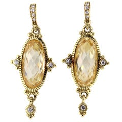 Judith Ripka Citrine Diamond Gold Drop Earrings