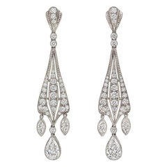 Mixed-Cut Diamond Dangle Earrings
