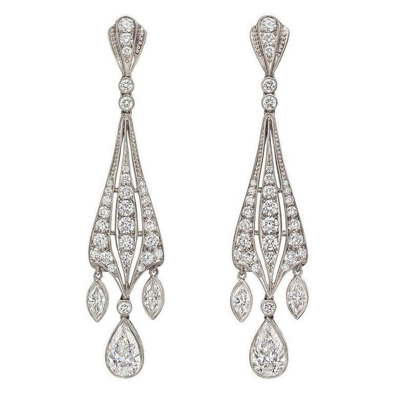 Mixed-Cut Diamond Dangle Earrings