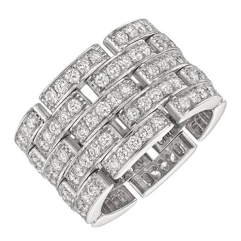 Cartier Diamond Maillon Panthère Wide Band Ring