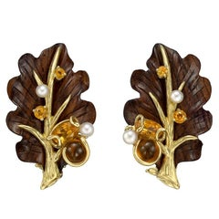 Seaman Schepps Rosewood Pearl Citrine Leaf Earrings