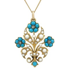 Antique Victorian Turquoise, Seed Pearl, Diamond and Yellow Gold Pendant
