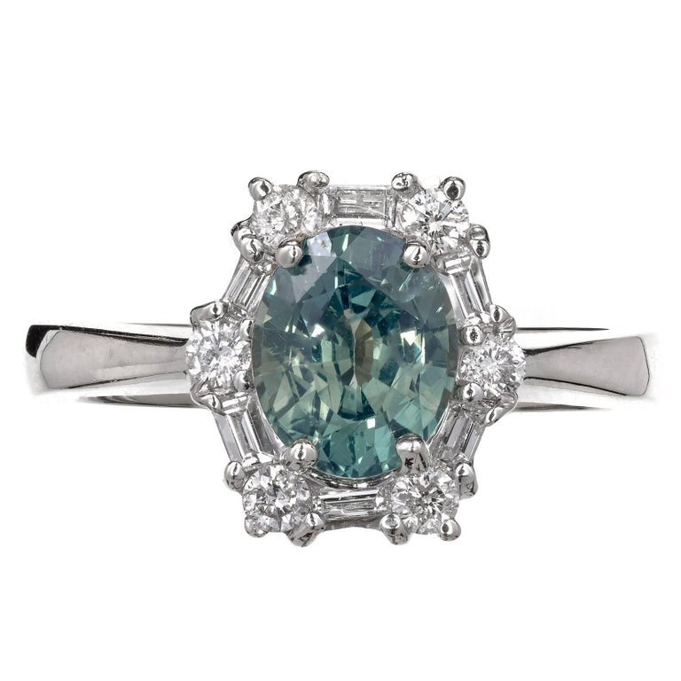 GIA Certified 1.54 Carat Natural Blue Green Sapphire Diamond Engagement Ring