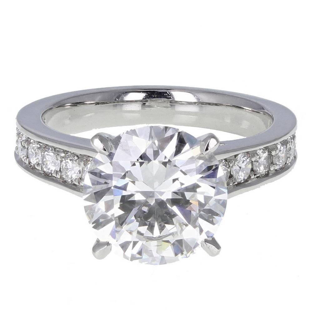 GIA Certified 3.11 Carat F VVS1 Brilliant Cut Diamond Solitaire Engagement Ring