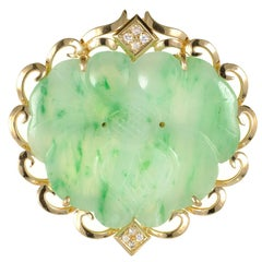 GIA Certified Jadeite Jade Carved Mottled Green Diamond Gold Pendant Brooch