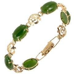 Nephrite Jadeite Jade Rose Gold Link Bracelet