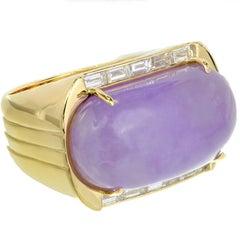 GIA Certified Lavender Purple Natural Jadeite Jade Diamond Gold Cocktail Ring
