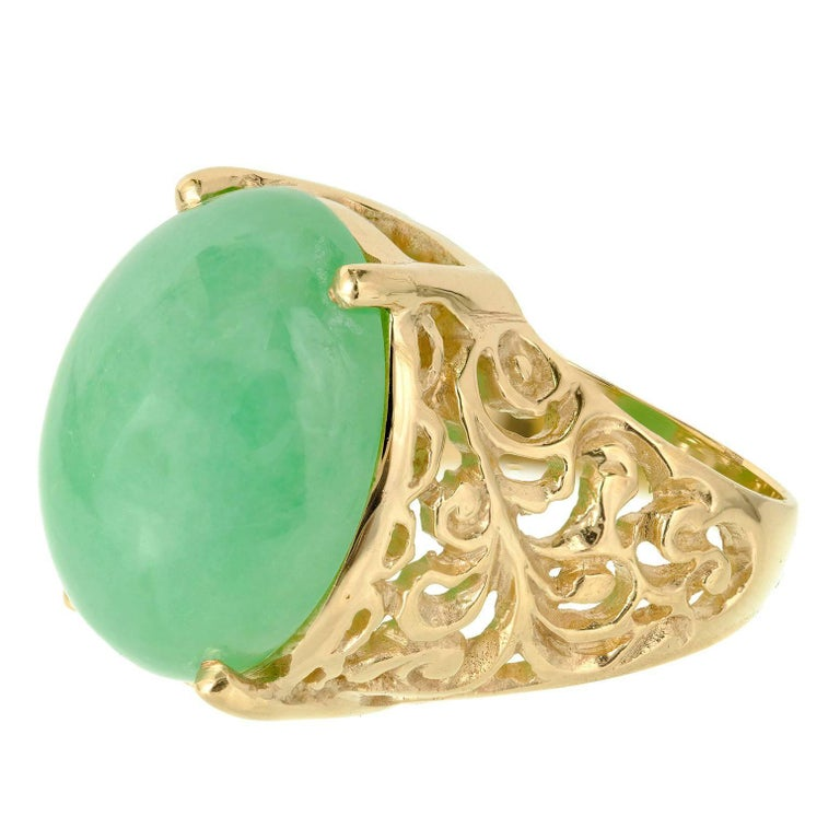 GIA Certified Jadeite Jade Natural Green Gold Cocktail Ring