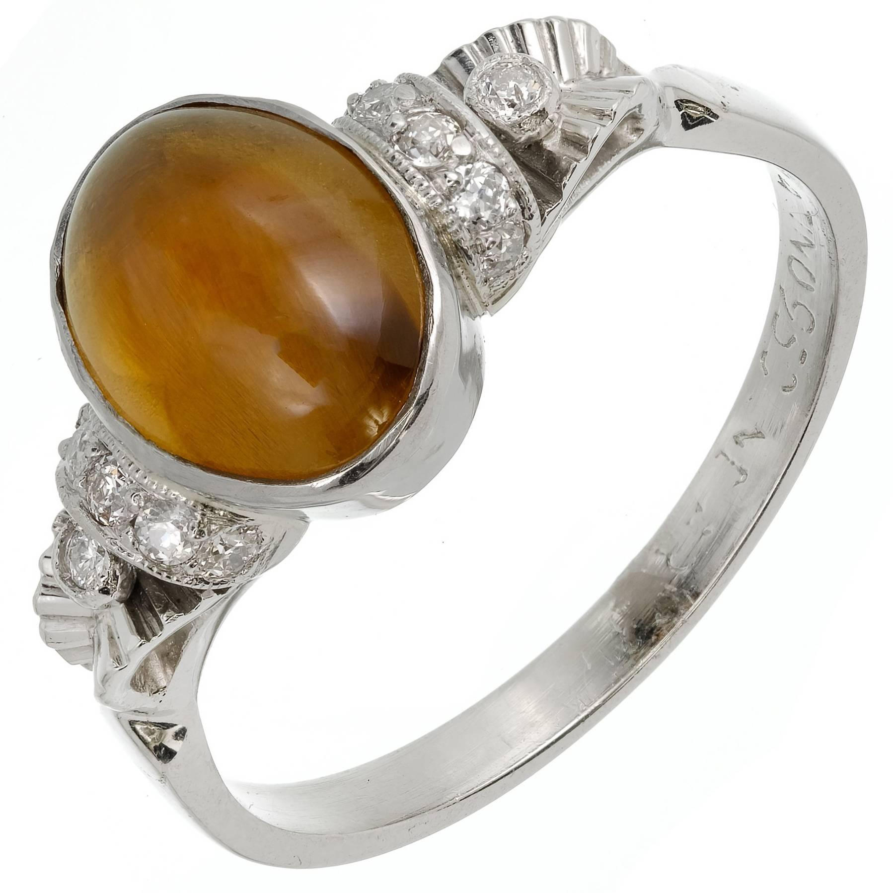GIA Certified 2.71 Carat Chrysoberyl Cat's Eye Diamond Platinum Engagement Ring
