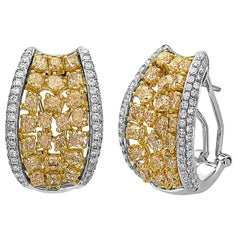 Emilio Jewelry Unique Yellow and White Diamond Earrings