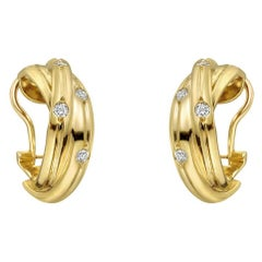 Cartier Yellow Gold Diamond Trinity Hoop Earclips