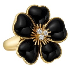 Van Cleef & Arpels Black Onyx Diamond Rose de Noel Ring