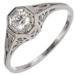 EGL Certified .23 Carat Art Deco Diamond Platinum Engagement Ring