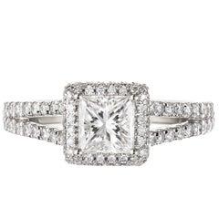Peter Suchy GIA Certified .74 Carat Diamond Halo Gold Split Shank Ring
