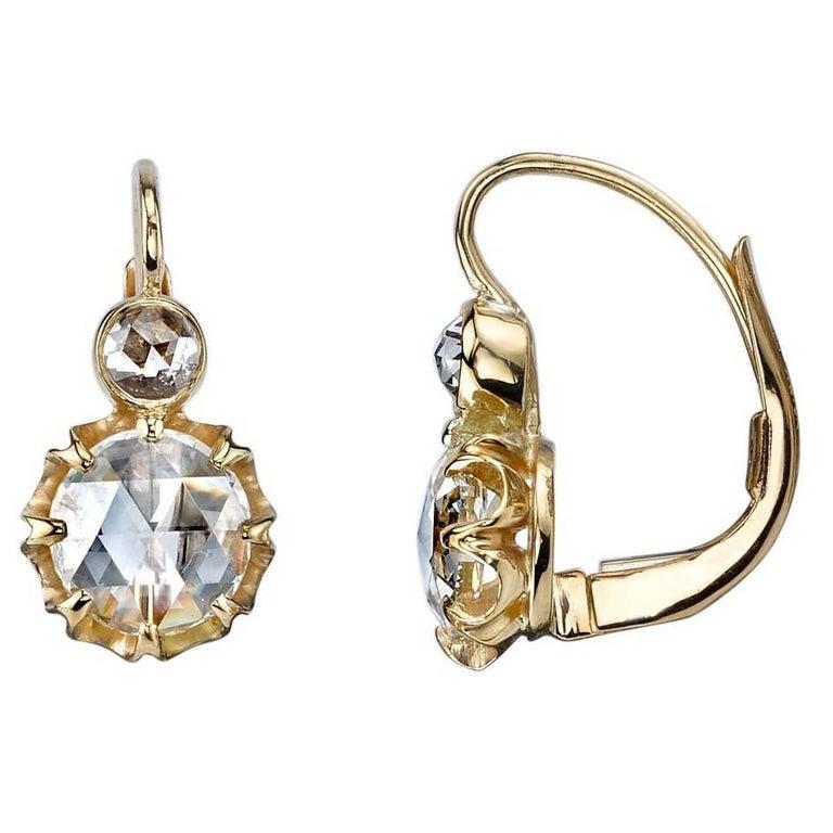 Rose Cut Diamond Drop Earrings