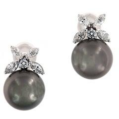 Tahitian Pearl Diamond Platinum Post Earrings