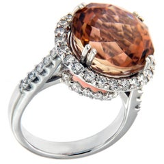Phillip Youngman Cut Peach Tourmaline & Diamond 18 Karat White Gold Ring