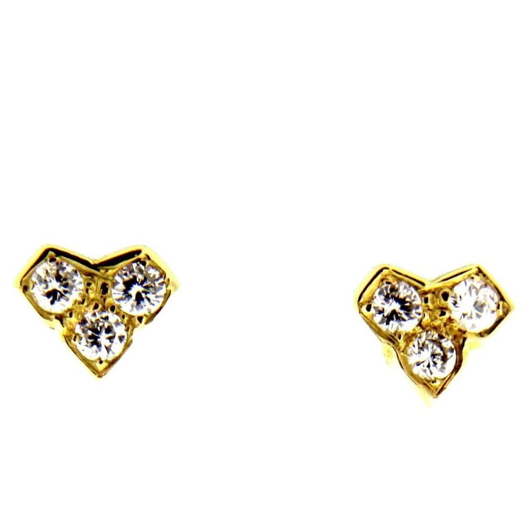 18 Karat Yellow Gold Diamond Earrings